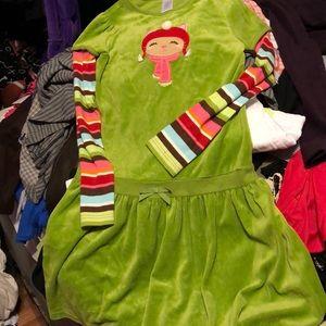 Gymboree Girls Size 12 Green Winter Dress velour